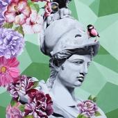 """Atena kwitnąca, cykl: """"Perypetie XXI wieku"""", 100x70 cm, akryl na płótnie, 2018 r."""