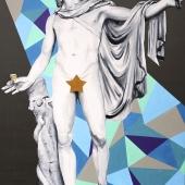 """Gwiazda Apollo, cykl: """"Perypetie XXI wieku"""", 100x70 cm, akryl na płótnie, 2018 r."""