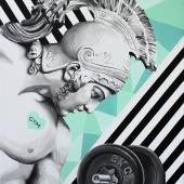 """Gym lover, cykl: """"Perypetie XXI wieku"""", 100x73 cm, akryl na płótnie, 2019 r. NIEDOSTĘPNY"""