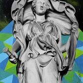 """Selene, cykl: """"Perypetie XXI wieku"""", 120x90 cm, akryl na płótnie, 2018 r."""