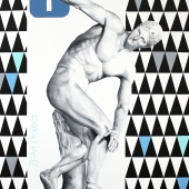 """Aspołeczny dyskobol, cykl: """"Perypetie XXI wieku"""", 120x90 cm, akryl na płótnie, 2018 r."""