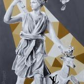 """Ofiara mody, cykl: """"Perypetie XXI wieku"""", 80x60 cm, akryl na płótnie, 2018 r."""