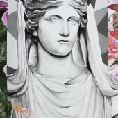 """Powrót córki , Smart, cykl: """"Perypetie XXI wieku"""", 80x50 cm, akryl na płótnie, 2018 r."""
