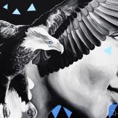 Marzenie o wolności, akryl na płótnie,  70x100 cm, 2019, NIEDOSTĘPNY