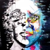 2 twarze, 100x100 cm, akryl na płótnie, 2015 r. NIEDOSTĘPNY