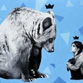 Rozbitkowie, 70x100 cm, akryl na płótnie, 2017, NIEDOSTĘPNY