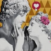 """Zaloty (Venus i Adonis), cykl: """"Perypetie XXI wieku"""", 80x120 cm, akryl na płótnie, 2018 r NIEDOSTĘPNY"""