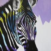 Zebra, 80x60 cm, akryl na płótnie, 2016 r. NIEDOSTĘPNY