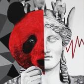 """Face to face, cykl: """"Perypetie XXI wieku"""", 80x50 cm, akryl na płótnie, 2019 r."""