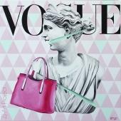 """Fashion victim, cykl: """"Perypetie XXI wieku"""", 90x90 cm, akryl na płótnie, 2018 r."""