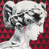 """Life's playlist, 90x90 cm, cykl: Perypetie XXI wieku"""", akryl na płótnie, 2017, NIEDOSTĘPNY"""