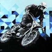 Motocyklista, 70x100 cm, akryl na płótnie, 2015 r. NIEDOSTĘPNY