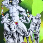 """Oderwani, cykl: """"Perypetie XXI wieku"""", 150x100 cm, akryl na płótnie, 2016 r. NIEDOSTĘPNY"""
