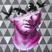 """Pink head, cykl: """"Perypetie XXI wieku"""", 100x100 cm, akryl na płótnie, 2018 r"""