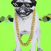 Pug life, 80x60 cm, akryl na płótnie, 2016 r. NIEDOSTĘPNE