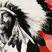 Stary indianin, 81x116 cm, akryl na płótnie, 2017 r NIEDOSTĘPNY
