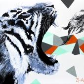 Wietnamskie tygrys, 70x100 cm, akryl na płótnie, 2017 r NIEDOSTĘPNY