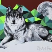 Wilk, 60x80 cm, akryl na płótnie, 2016 r. NIEDOSTĘPNY