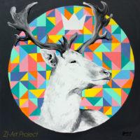 Król kiczu, 80×80 cm, akryl na płótnie, 2017 r. NIEDOSTĘPNY